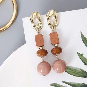 Long Wood Acrylic Earrings